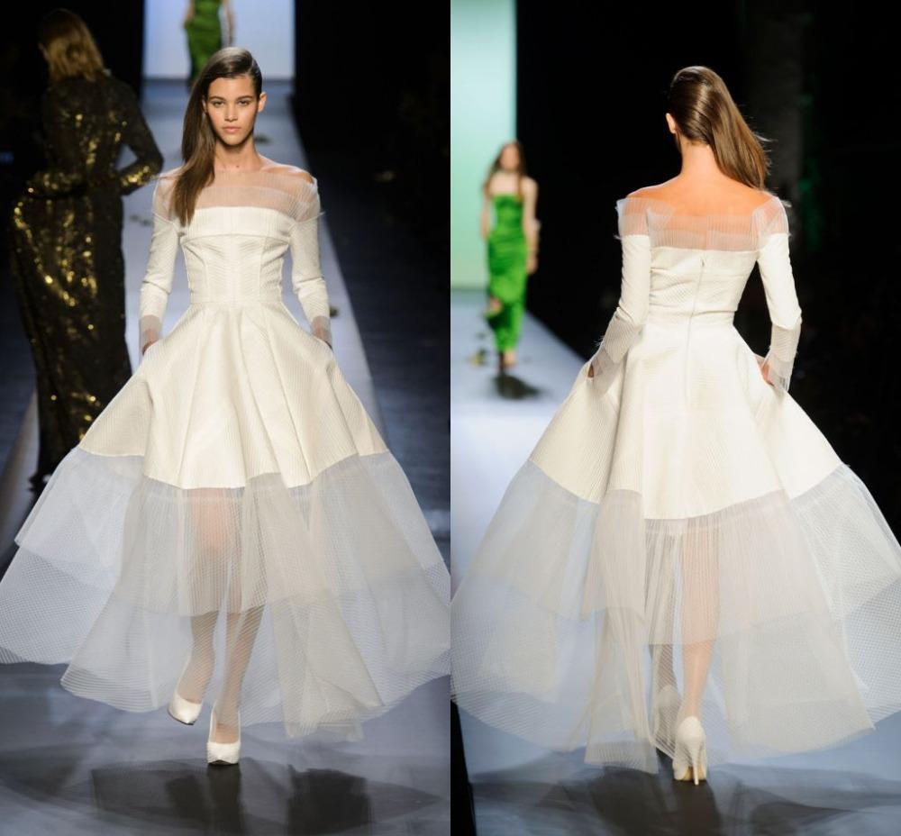 Simple Design Scoop Neck Long Sleeve Long A Line Tulle: Modest Simple White Long Elegant Evening Dress Boat Neck