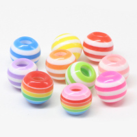 round square triangle rainbow color striped resin beads for diy accessories