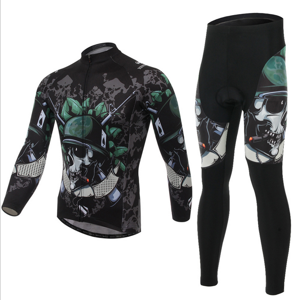Get Quotations · soldier skull skeleton full sleeve bicycle cycling long  jersey sets clothing mountain bike ( bib) 3e35fb72b