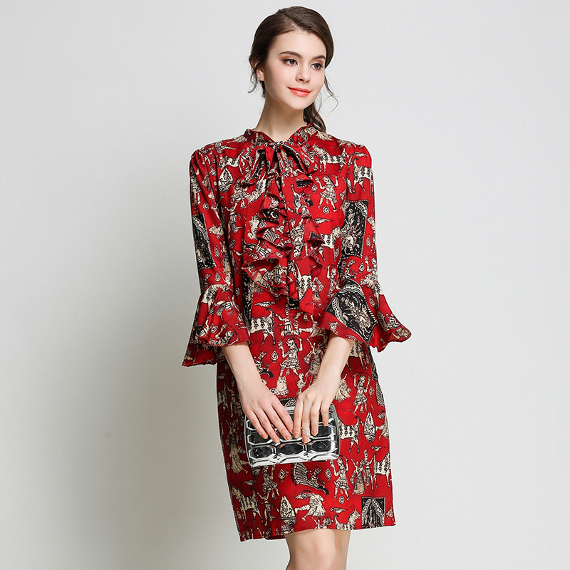 New elegant dresses with trumpet sleeves ruffled bow tie art printed red dress