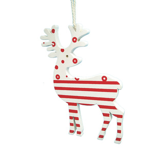 Hanging Red Wooden Angel handmade reindeer Christmas Tree Ornaments