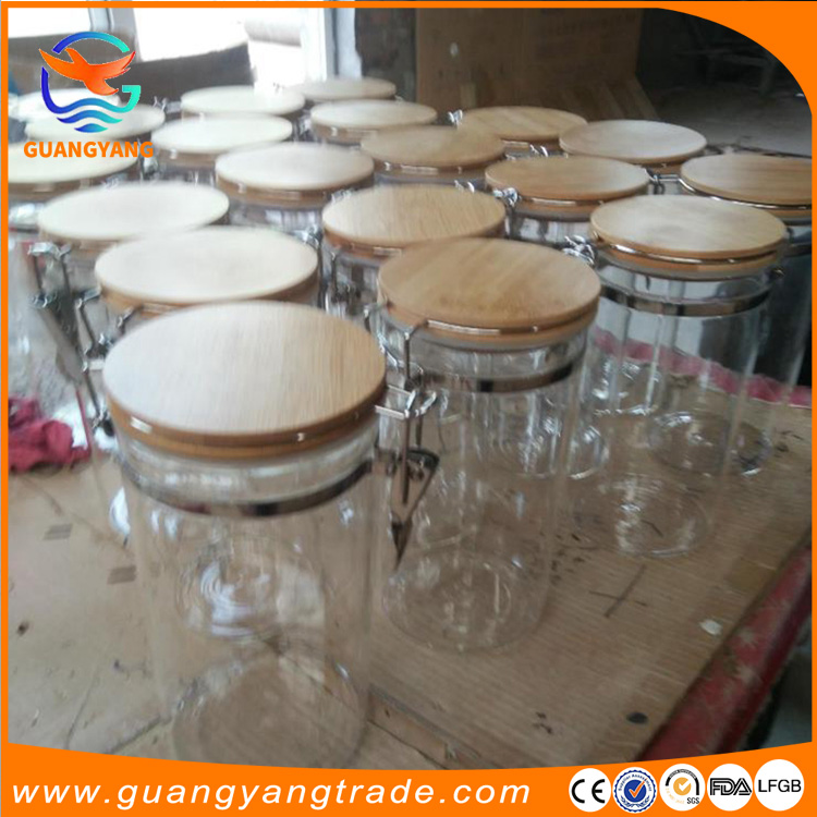 Large glass food storage jars wholesale glass jar wooden lid for honey food candy glass jar