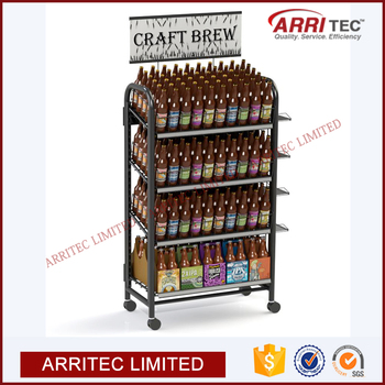 wine beer beverage display metal bottle wire liquor bottle display shelf beer merchandiser - Beer Merchandiser