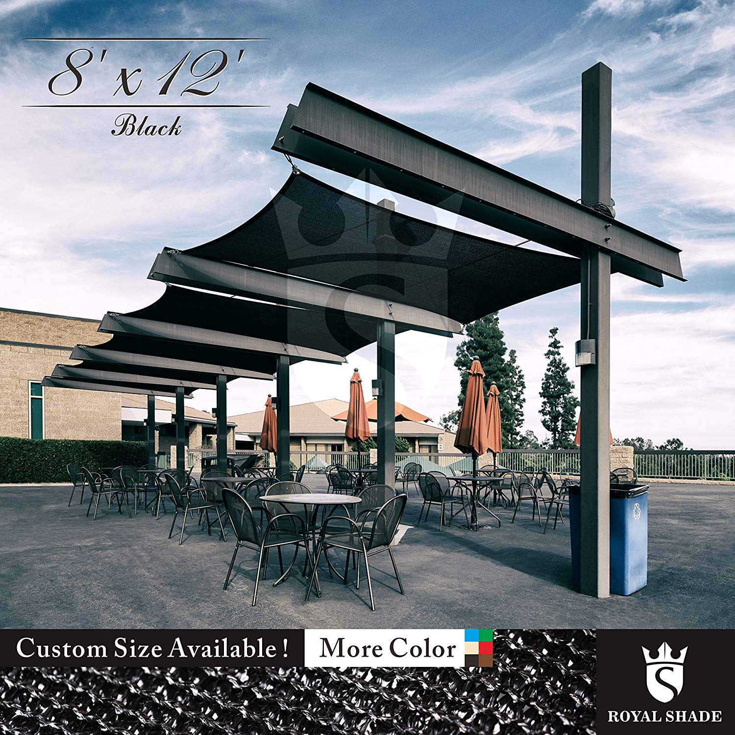 75cef0fcf10 Get Quotations · Royal Shade 8  x 12  Black Rectangle Sun Shade Sail Canopy  Outdoor Patio Fabric