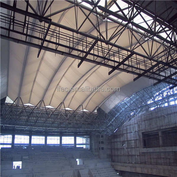 Outdoor stadium bleacher roof steel space frame