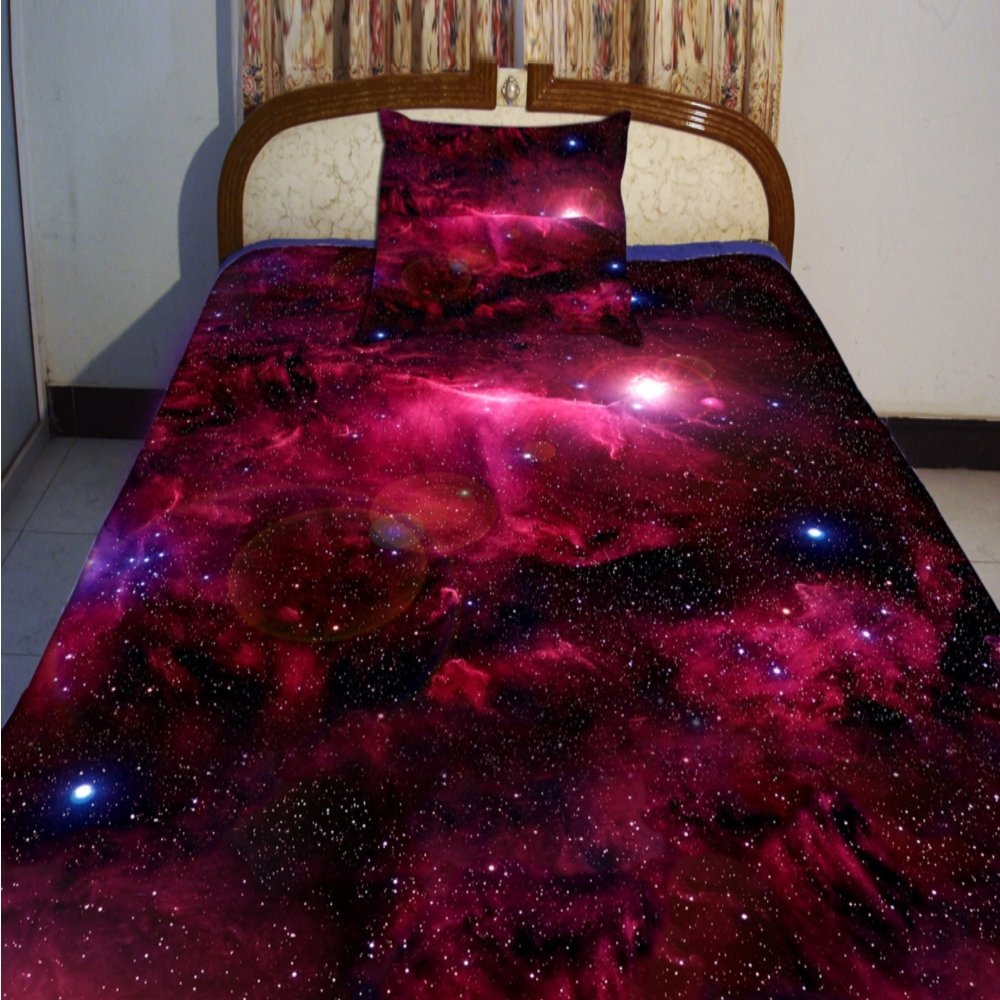Alicemall Red Galaxy Bedding Twin Size Bright Red Galaxy Print 4-Piece Duvet Cover Sets, Sci-fi 3D Nebula Fabric Bedding Sets, No Comforter (Twin)