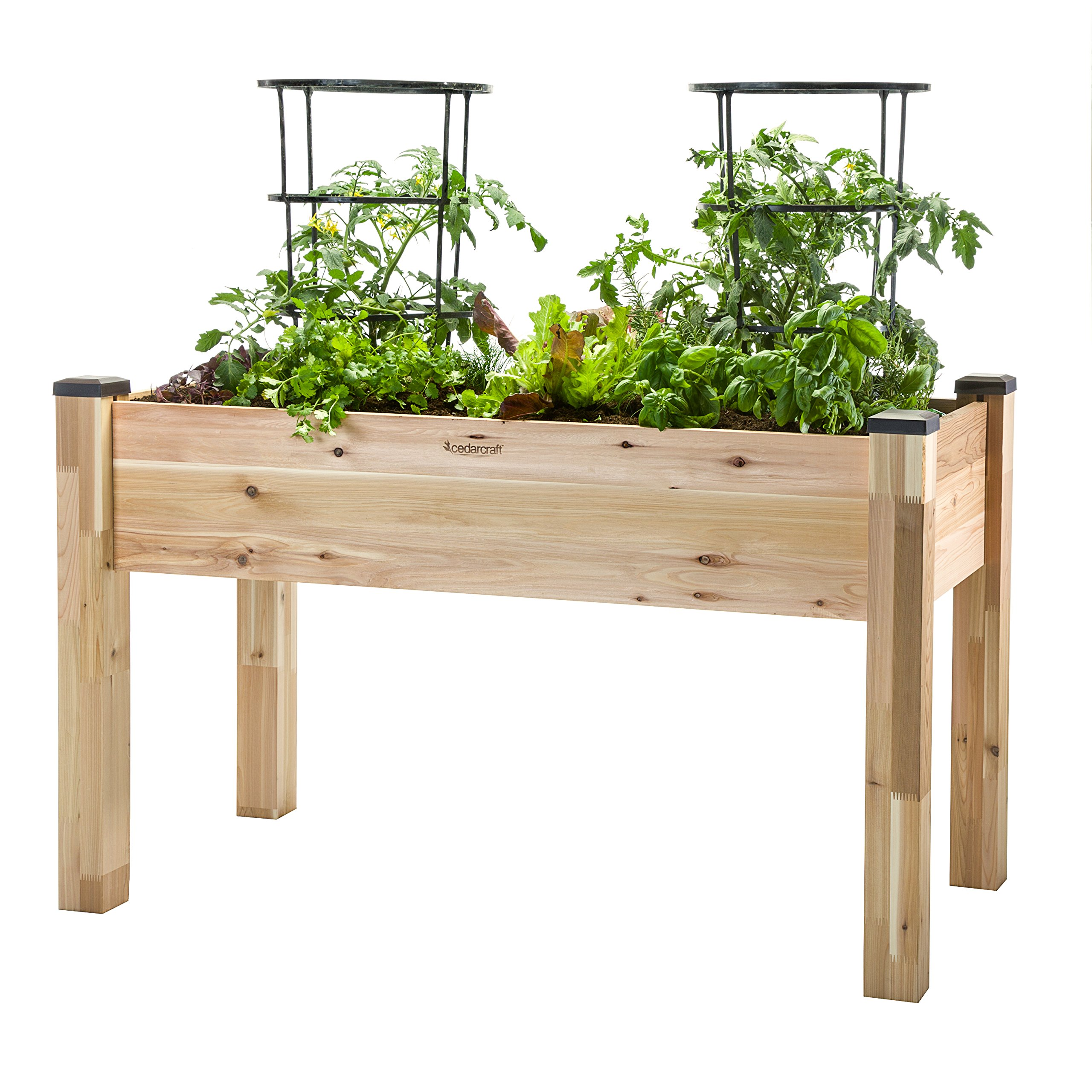 "CedarCraft Elevated Cedar Planter (23"" X 49"" X 30"") - Grow Fresh Vegetables, Herb Gardens, Flowers & Succulents. Beautiful Raised Garden Bed for a Deck, Patio or Yard Gardening. No Tools Required."