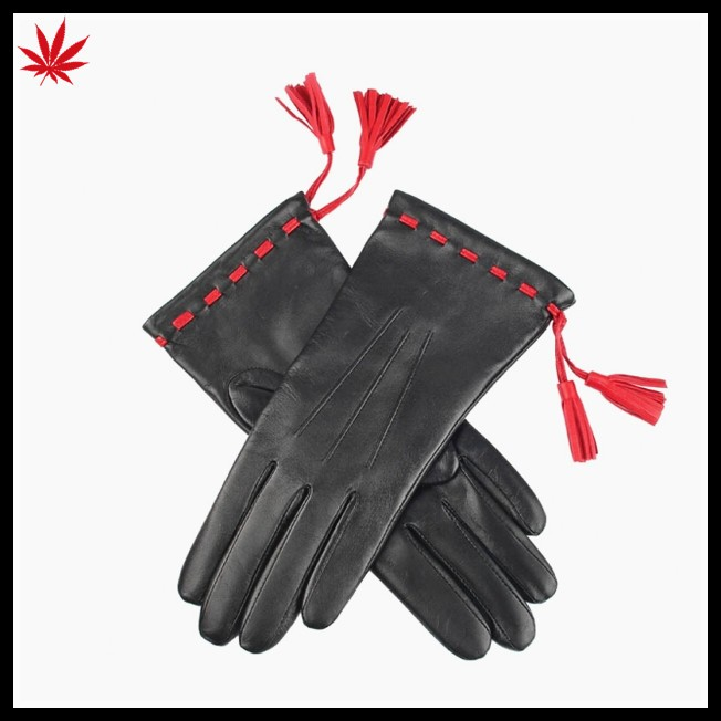 Professional supply ladies fashion dress tassel winter soft leather driving gloves