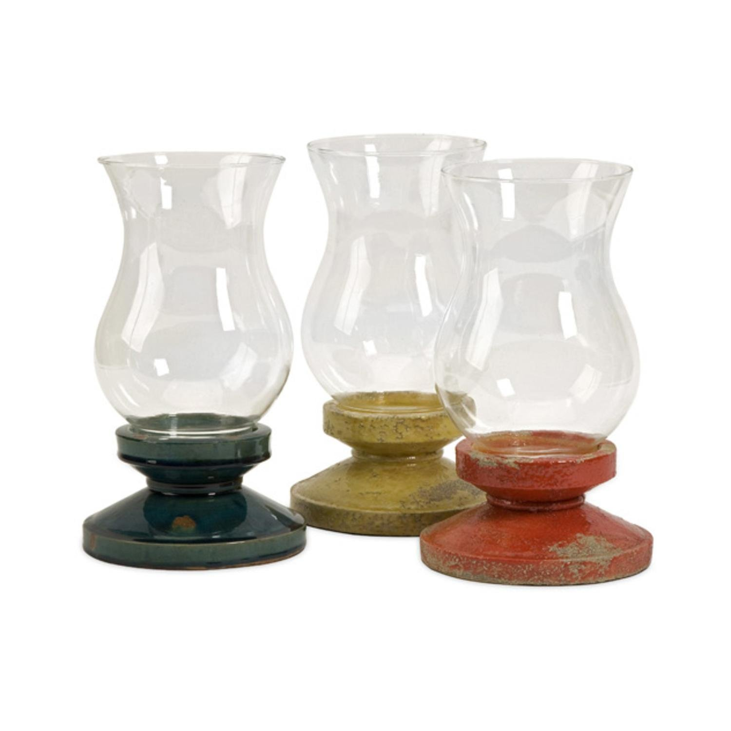 Cheap wholesale hurricane candle holders find wholesale hurricane get quotations set of 3 distressed boullia decorative glass hurricane pillar candle holders reviewsmspy