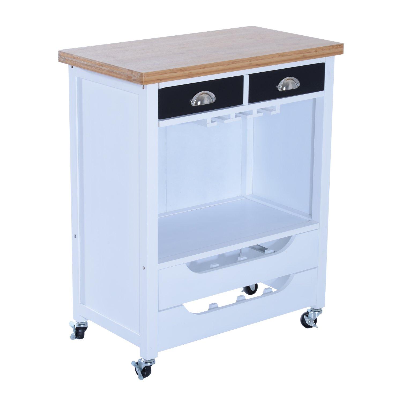 "HOMCOM 34"" Kitchen Island Rolling Cart with Wine Rack Drawers and 9 Glass Stemware Storage"