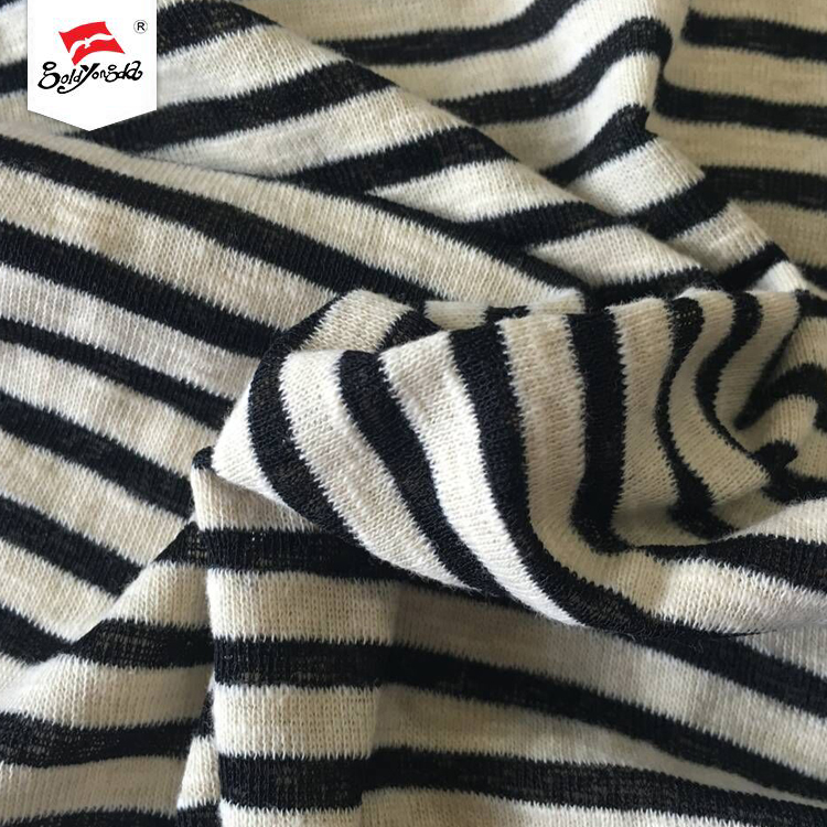 Cotton various types of stripe garments 1*1 yarn dyed knit rib polyester fabric