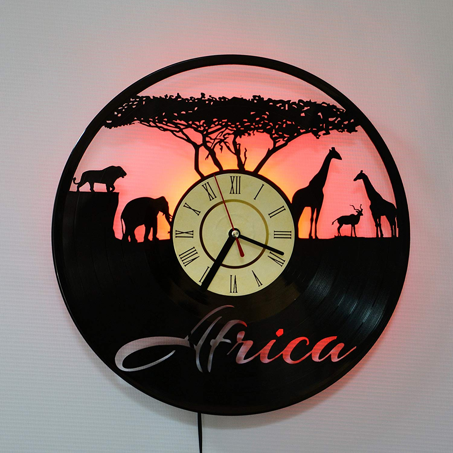 AFRICA LED Backlight Vinyl Wall Clock Night Color Change Atmosphere Light Lamp Creative Classic Cool Living Room Interior Decor Led Time Clock With Color Red Light