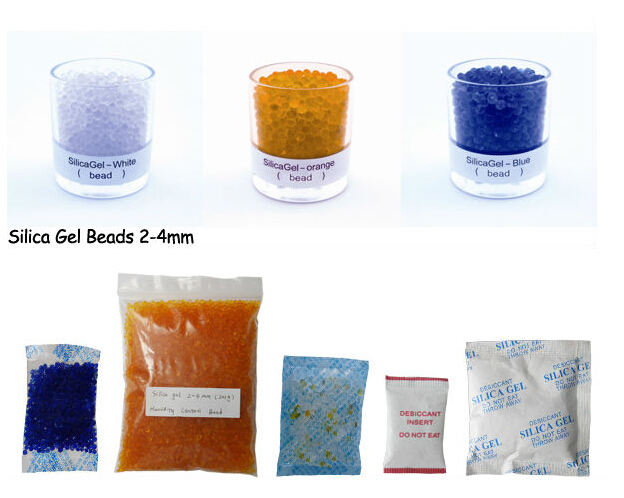 Cobalt free silica gel desiccant in transparent plastic bag
