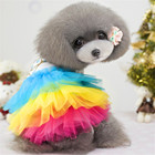 Crystal Bow Pattern Rainbow Dresses for Small Puppy Dog