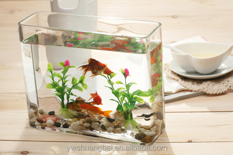 Mini clear glass fish bowl customized goldfish glass for Square fish tank