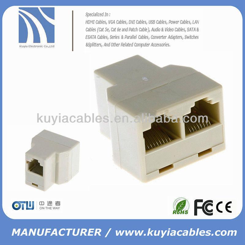 Rj45 cat 5 6 lan ethernet divisor conector adaptador doble for Cable ethernet precio