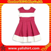 New arrival fashion lovely plain zipper back 100%cotton color block pleated girls stylish frocks