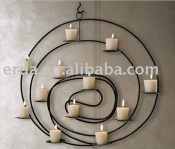 Wrought Iron Wall Mount Round Candle Holder