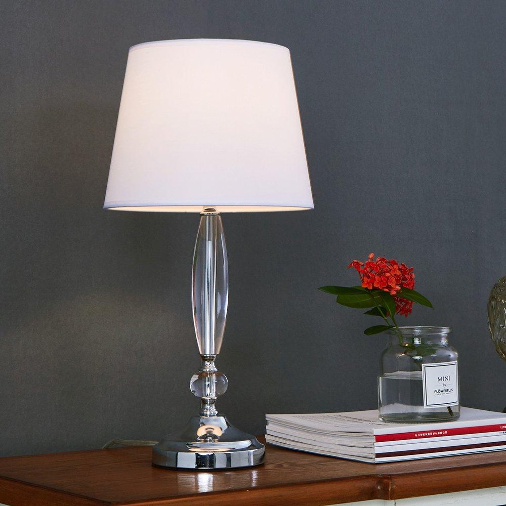 SOTTAE Modern Fashionable Clear Crystal Base White Fabric Shade Table Lamp, Desk Lamp For Bedroom Livingroom