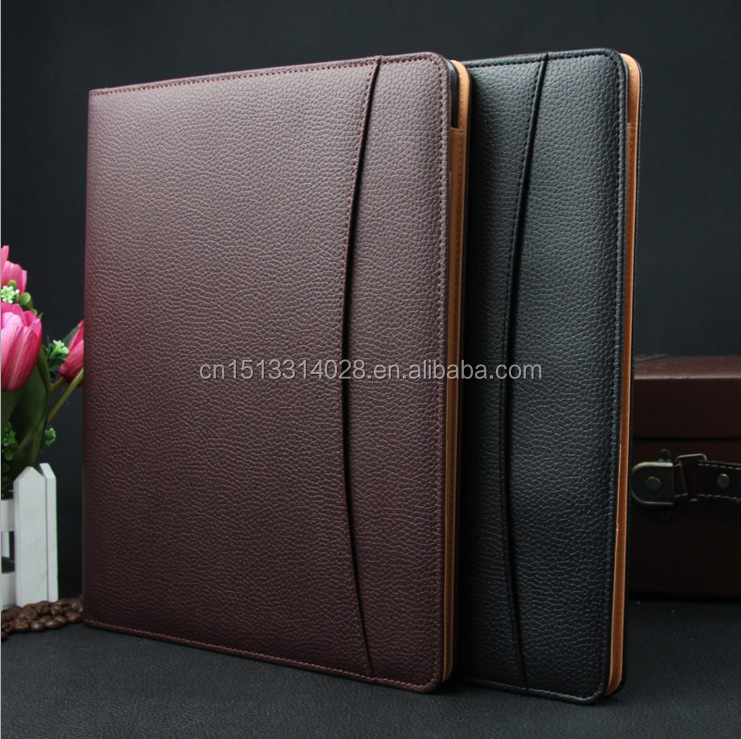 Professional Custom Top Quality Genuine Leather Business Portfolio Bag File Folder A4 Document Folder Binder With Card Holder