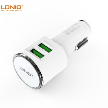 LDNIO White 4.2A Fast Charging Dual Ports USB2.0 Car Charge , Charger Adapter For Cellphone tablet PC DL-C29