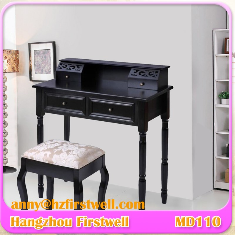 wholesale cheap BLACK vanity dressing table, wood bedroom furniture