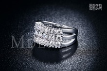 White gold filled Engagement rings for women Cubic Zircon diamond jewelry Romantic bague Wedding bijoux accessories