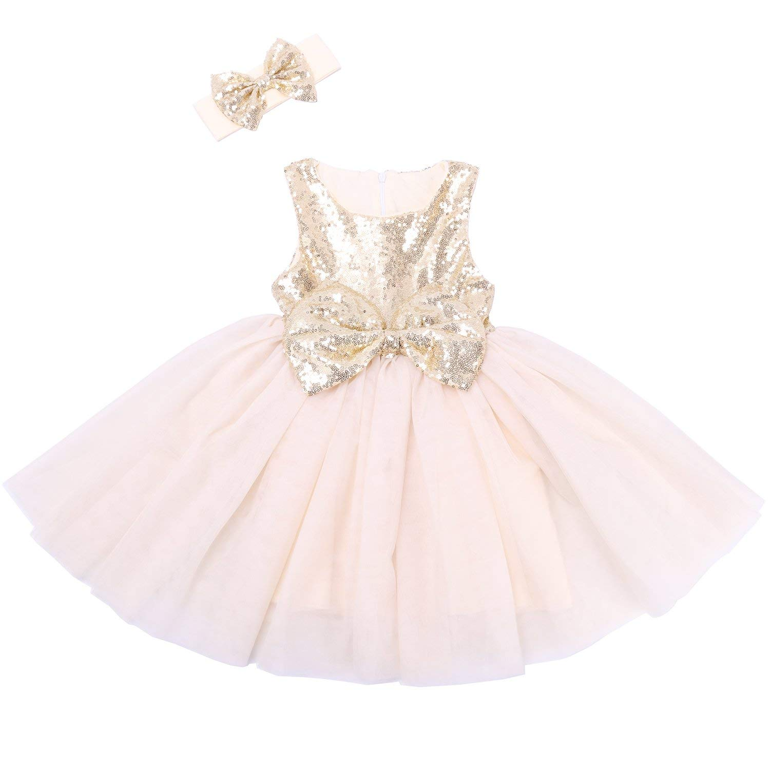 929ae9ce2 Get Quotations · Cilucu Flower Girl Dresses Toddlers Sequin Party Dress Tutu  Prom Pageant Dresses Gown Rose Gold/