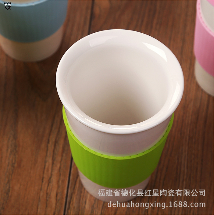 301-400ML custom logo Porcelain Drinking Mug Ceramic Pint Cup Vacuum Travel Coffee Mug with plastic lid and Silicone Sleeve