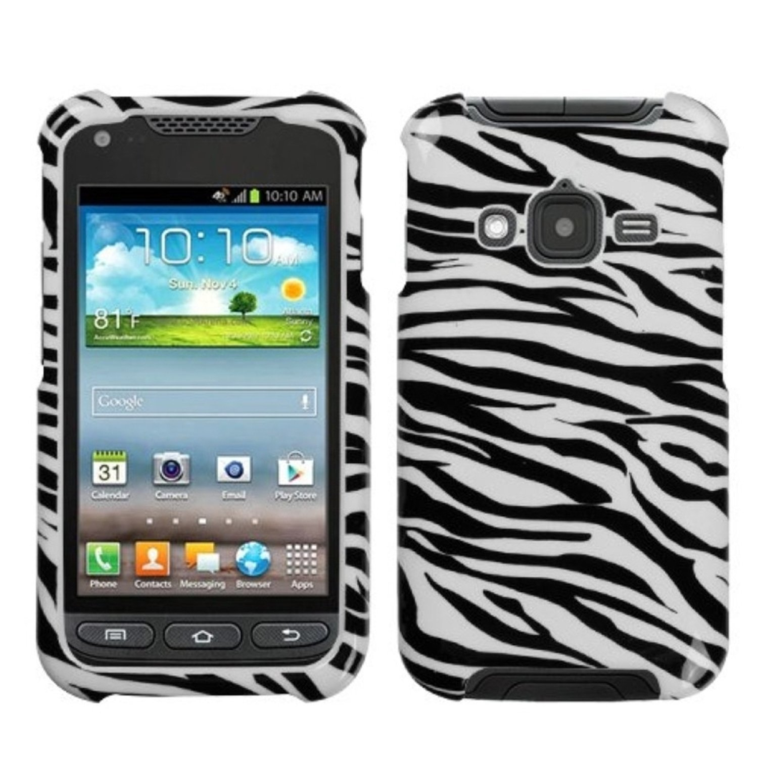 MYBAT SAMI547HPCIM056NP Compact and Durable Protective Cover for Samsung Galaxy Rugby Pro i547 - 1 Pack - Retail Packaging - Zebra Skin