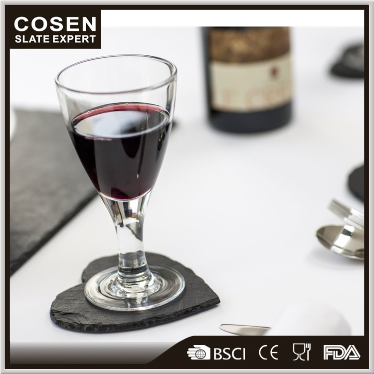 Natural stone heart shape black slate red wine cup coaster