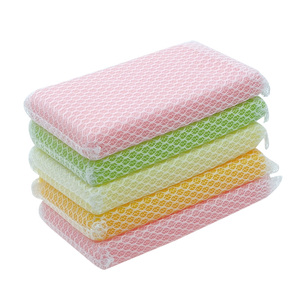 Polyester multicolor cleaning foam mesh kitchen scrub sponge
