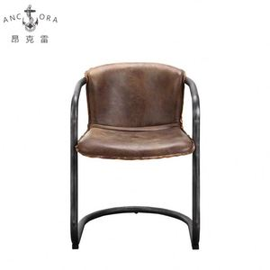 vintage light brown leather iron dining chair K512