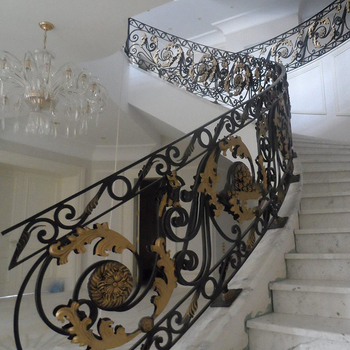 Customized Pattern Interior Wrought Iron Stair Railing