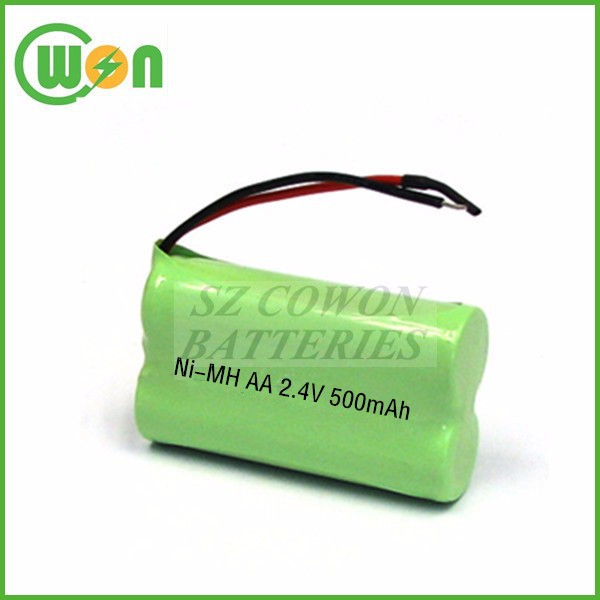 Rechargeable Ni-MH AA Battery 2.4V 500mAh nimh aa 500mah 2.4V battery pack with wire connector customized for cordless phone
