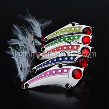 5pcs/Lot Spoon Lure VIB <strong>Fishing</strong> Lures Spinner Bait CrankBait Tackle #6 Hook 15g