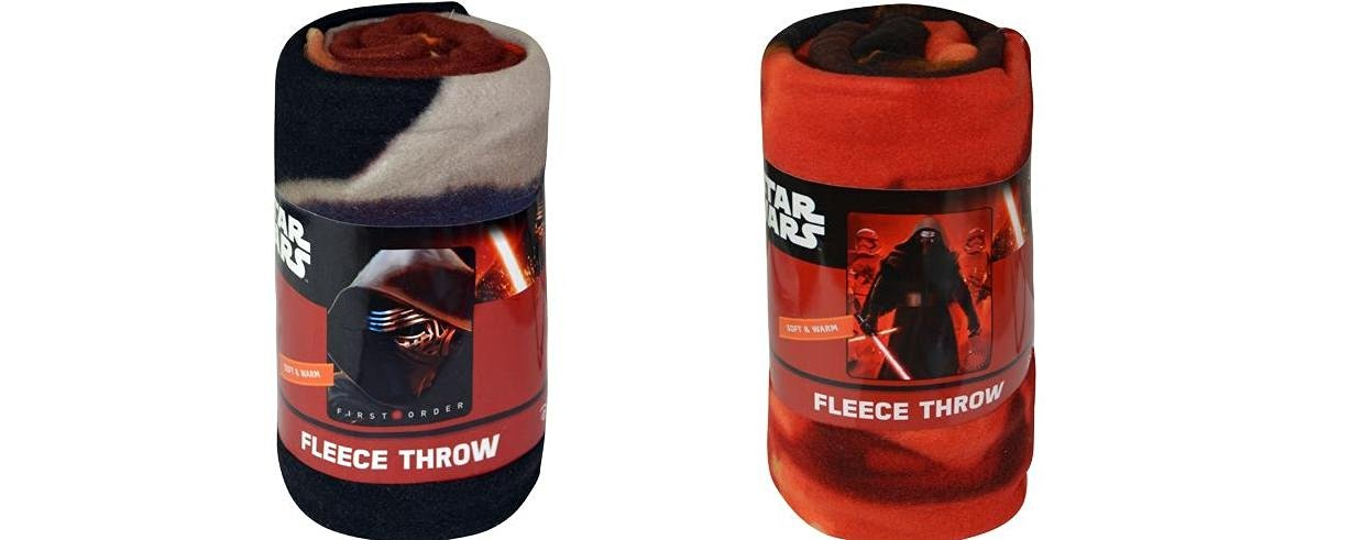 """Star Wars EP7 Fleece Throw Blanket 45"""" x 60"""" 2pc set - Kylo Face and Kylo Troops"""