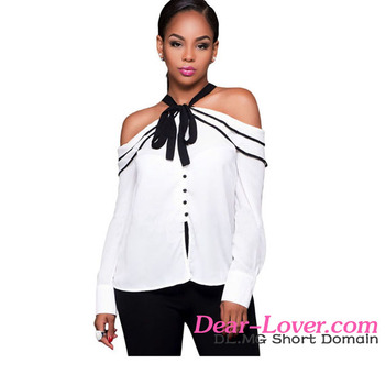 c98270619d025 Ladies Latest Designs Bow Tie White Cold Shoulder Blouses And Tops ...