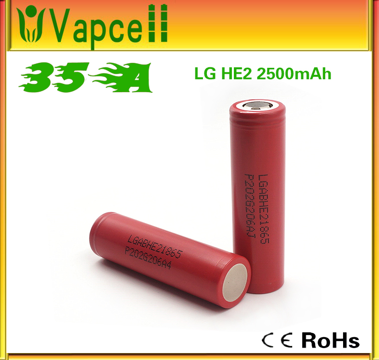 Original made in Korea power tool 18650 battery cell LG HE2 2500mah 20amp continuous for 260w box mod