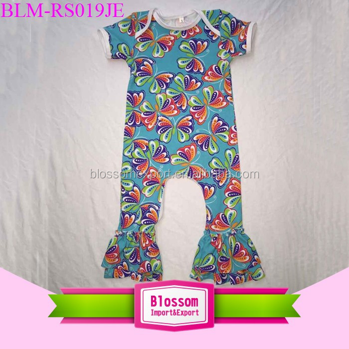 2018 Baby cotton frocks designs fancy Print rompers jumpsuits flower ruffle Newborn unique baby names picture baby romper stock