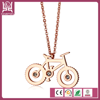 China Supplier Cute Boy And Girl Bike Necklace