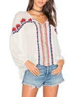 Mexican Clothing 2017 Blouse Women Summer Viscose Embroidered Blouse HSB2823