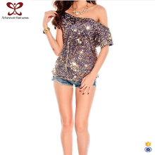 2017 New Style Hot Sexy Girls Tee Shirts Sequins Mesh Fabric Off One Shoulder T Shirt