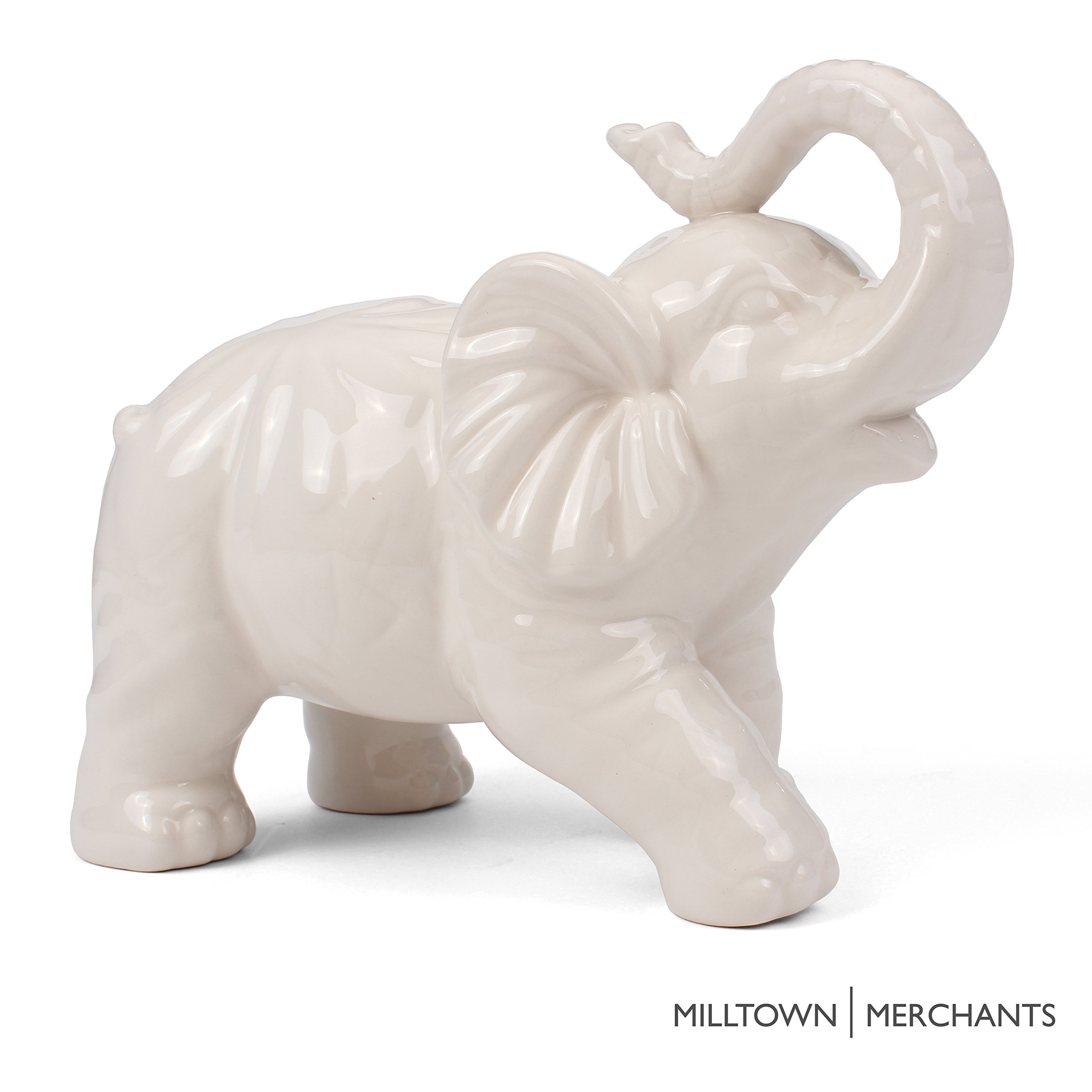 Wonderful Milltown Merchants Trade; Elephant Figurine   Ceramic Elephant   Elephant  Decor   White Ceramic Elephant