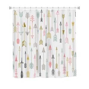 Heavy Duty Elegant Hand Drawn Artistic Arrow Design Shower Curtain
