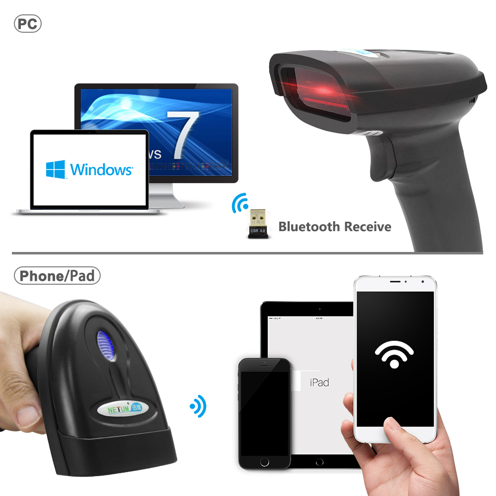 Wireless barcode scanner wireless bar code reader bluetooth for android tablet pc