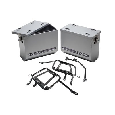 Tusk Aluminum Panniers with Pannier Racks Size Large Silver Fits 2008- 2015 KLR 650 Kawasaki Tusk part #1467340010