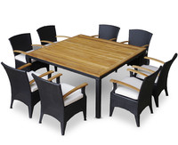 Garden furniture teak wood table dining sets Rattan and Wicker