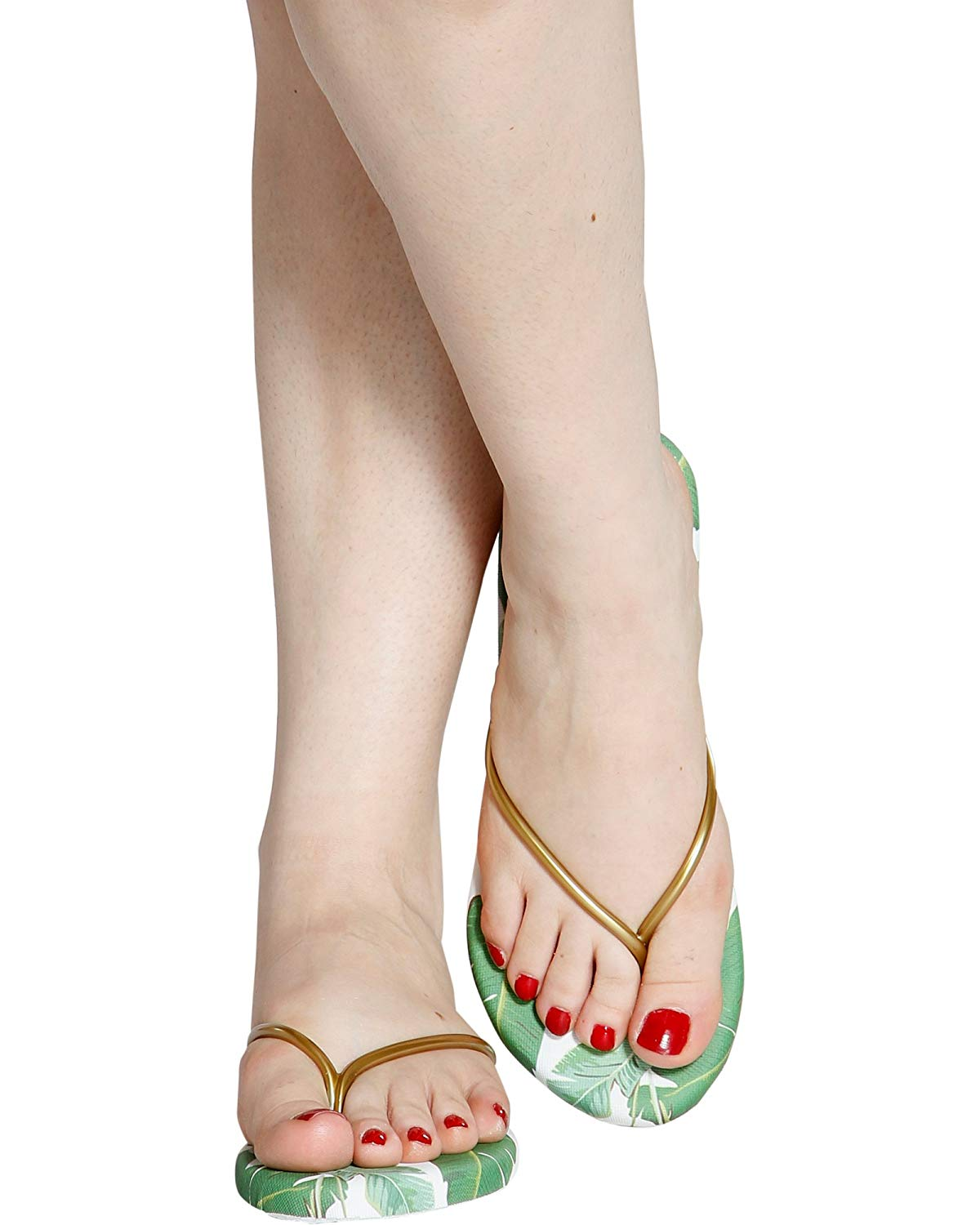 94f4900c6959 Get Quotations · Qupid Women s Casual Open Toe Leaf Flip Flops -  Bronze Green