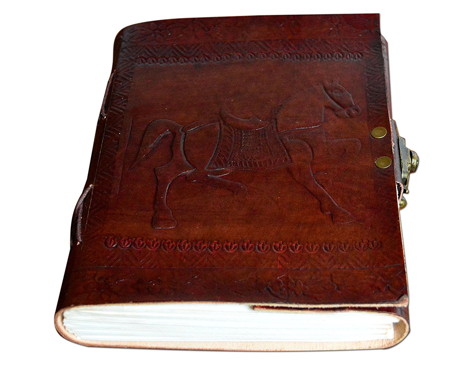 ALBORZ Handmade Crazy Horse Leather Journal, Notebook, Planner, for Men & Women Unlined Paper Best Gift for Art Sketchbook, Travel Diary & Notebooks Size 7 inches